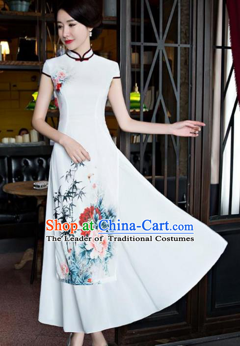 Chinese National Costume Tang Suit Qipao Dress Traditional Republic of China Printing Peony Cheongsam for Women