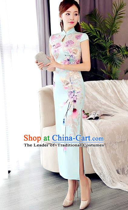 Chinese National Costume Tang Suit Qipao Dress Traditional Republic of China Printing Blue Cheongsam for Women