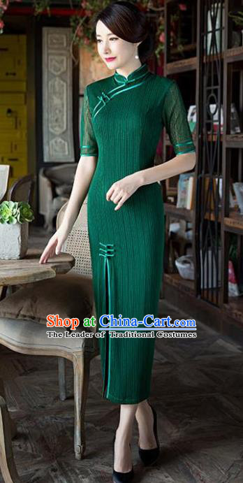 Chinese National Costume Tang Suit Retro Green Qipao Dress Traditional Republic of China Cheongsam for Women