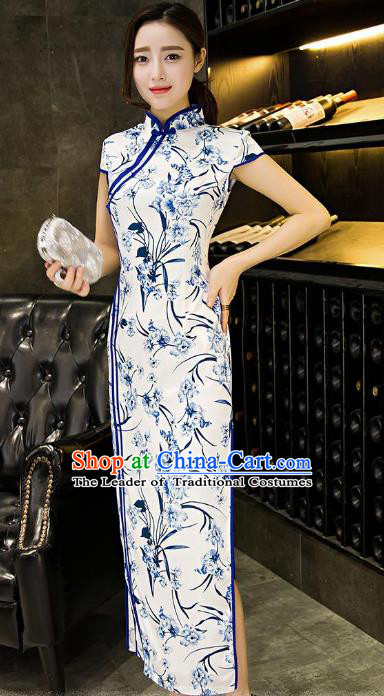 Chinese Top Grade Retro Blue and White Porcelain Silk Qipao Dress Traditional Republic of China Tang Suit Cheongsam for Women