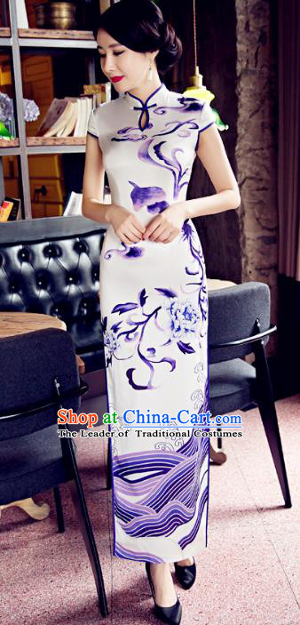 Top Grade Chinese Elegant Cheongsam Traditional Republic of China Tang Suit Printing Qipao Dress for Women