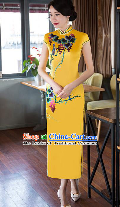 Top Grade Chinese Elegant Cheongsam Traditional China Tang Suit Printing Yellow Silk Qipao Dress for Women
