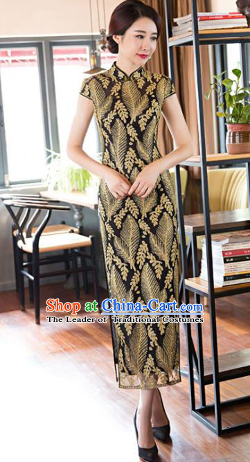Top Grade Chinese Elegant Cheongsam Traditional China Tang Suit Lace Qipao Dress for Women