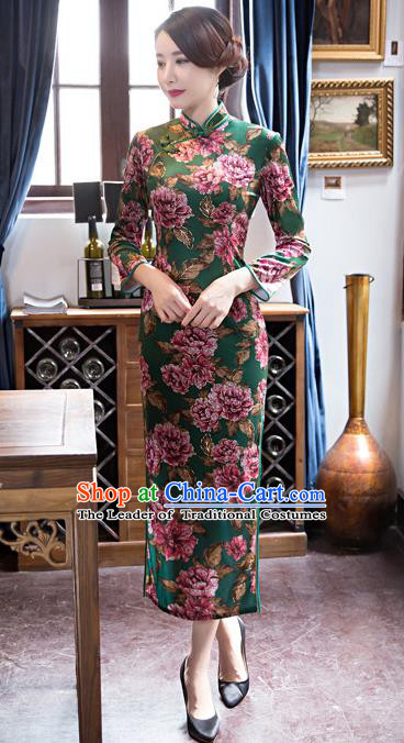 Top Grade Chinese Elegant Green Cheongsam Traditional China Tang Suit Printing Peony Qipao Dress for Women