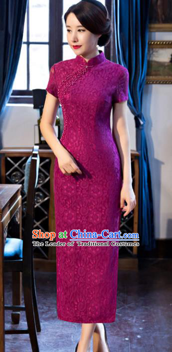 Top Grade Chinese Elegant Purple Lace Cheongsam Traditional China Tang Suit Qipao Dress for Women
