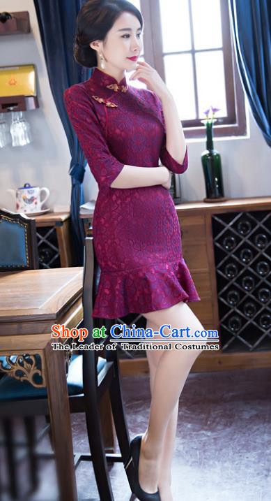 Top Grade Chinese Elegant Purple Lace Short Cheongsam Traditional China Tang Suit Qipao Dress for Women