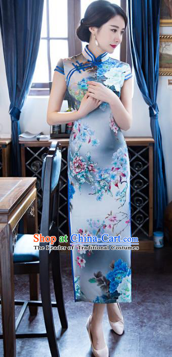 Top Grade Chinese Elegant Silk Cheongsam Traditional China Tang Suit Printing Blue Qipao Dress for Women