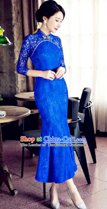 Chinese Top Grade Elegant Qipao Dress Traditional Republic of China Tang Suit Royalblue Lace Cheongsam for Women