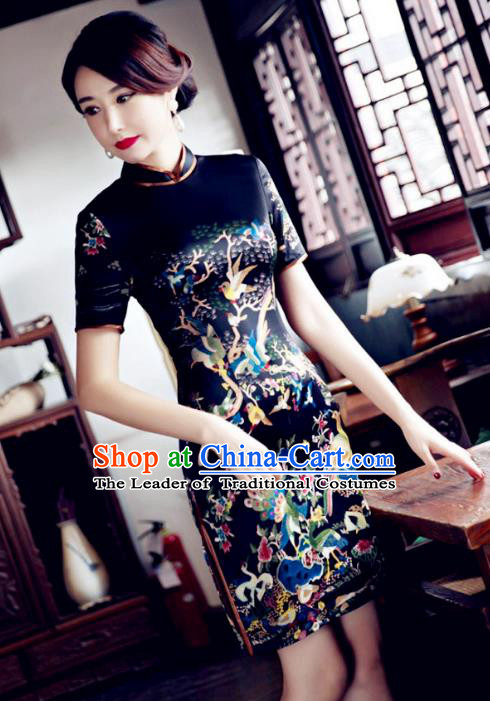 Chinese Top Grade Elegant Cheongsam Traditional Republic of China Tang Suit Black Qipao Dress for Women