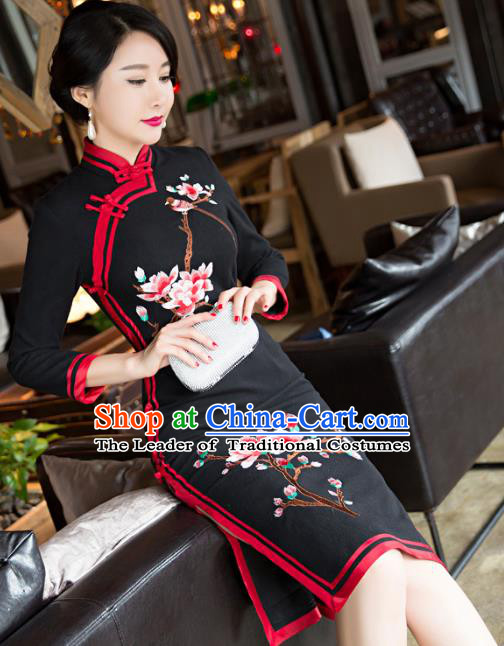 Top Grade Chinese Elegant Black Woolen Cheongsam Traditional China Tang Suit Qipao Dress for Women