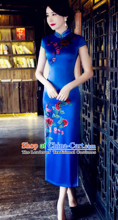 Traditional Top Grade Chinese Elegant Printing Blue Cheongsam China Tang Suit Qipao Dress for Women
