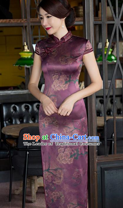 Traditional Top Grade Chinese Elegant Printing Cheongsam China Tang Suit Purple Qipao Dress for Women