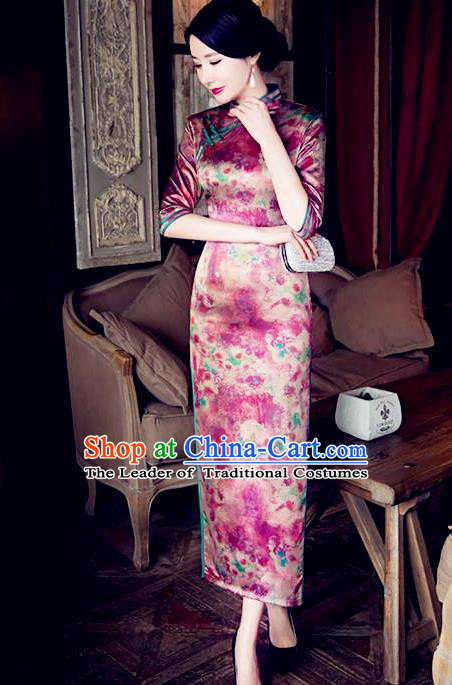 Traditional Top Grade Chinese Elegant Printing Silk Cheongsam China Tang Suit Qipao Dress for Women