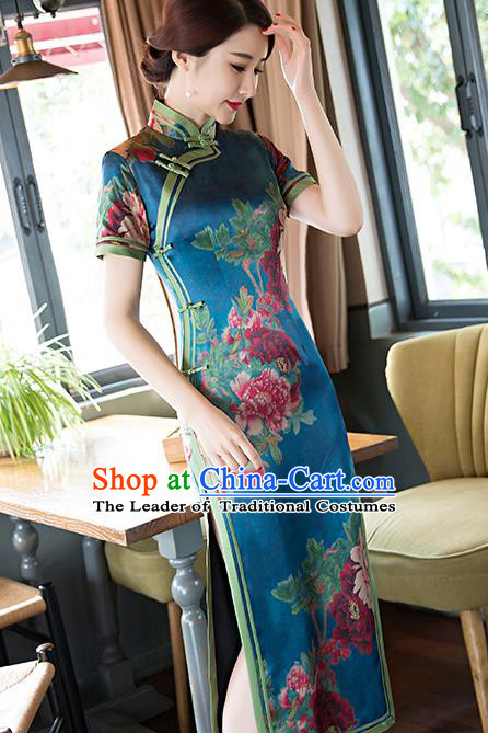 Traditional Top Grade Chinese Elegant Printing Blue Silk Cheongsam China Tang Suit Qipao Dress for Women