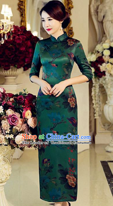 Traditional Top Grade Chinese Elegant Printing Green Silk Cheongsam China Tang Suit Qipao Dress for Women