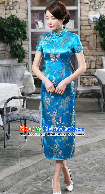 Traditional Chinese Elegant Phoenix Cheongsam China Tang Suit Blue Brocade Qipao Dress for Women