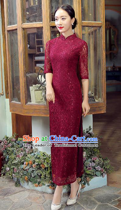 Traditional Chinese Elegant Cheongsam China Tang Suit Wine Red Lace Qipao Dress for Women