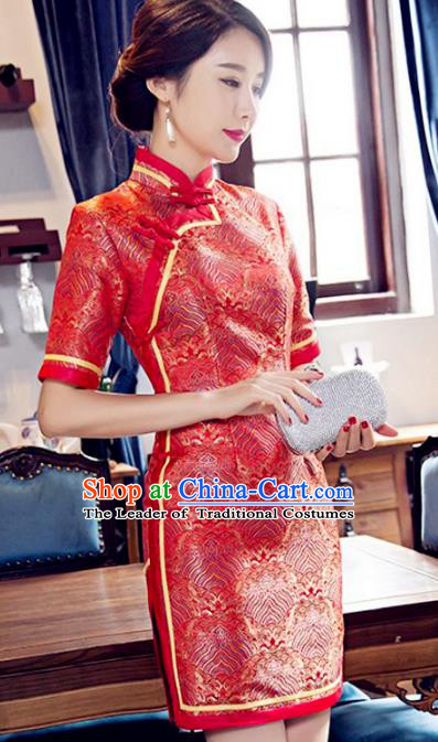 Traditional Chinese Elegant Red Brocade Cheongsam China Tang Suit Short Qipao Dress for Women