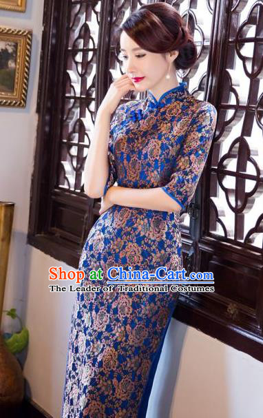 Chinese Traditional Costume Elegant Silk Cheongsam China Tang Suit Blue Qipao Dress for Women