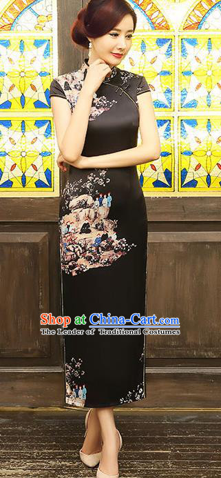 Chinese Traditional Costume Elegant Cheongsam China Tang Suit Black Silk Qipao Dress for Women