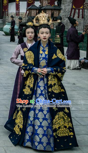 Chinese Ancient Northern and Southern Dynasties Empress Dowager Feng Embroidered Replica Costumes for Women