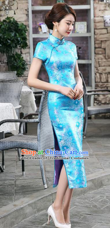 Chinese Traditional Costume Blue Brocade Cheongsam China Tang Suit Silk Qipao Dress for Women