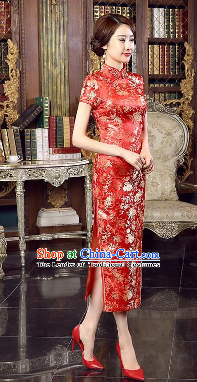 Chinese Traditional Costume Red Brocade Cheongsam China Tang Suit Silk Qipao Dress for Women