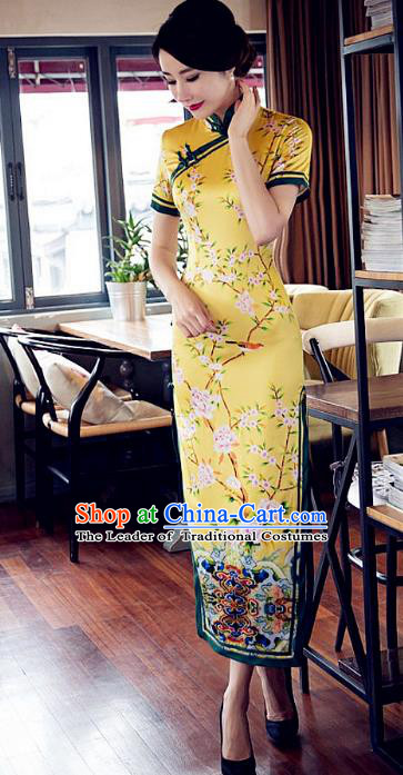 Chinese Traditional Costume Printing Flowers Yellow Cheongsam China Tang Suit Silk Qipao Dress for Women