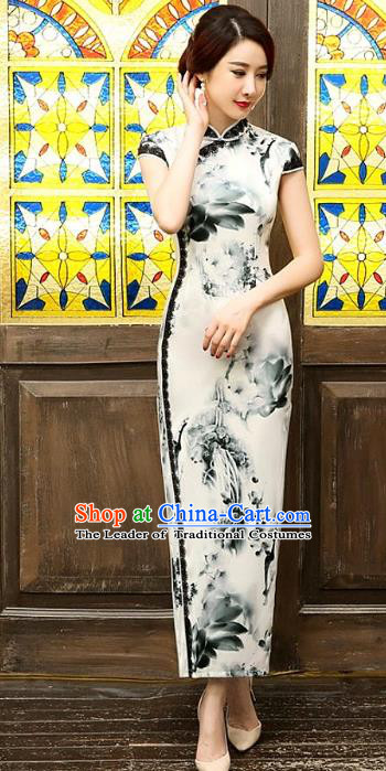 Chinese Traditional Costume Ink Painting Cheongsam China Tang Suit Silk Qipao Dress for Women