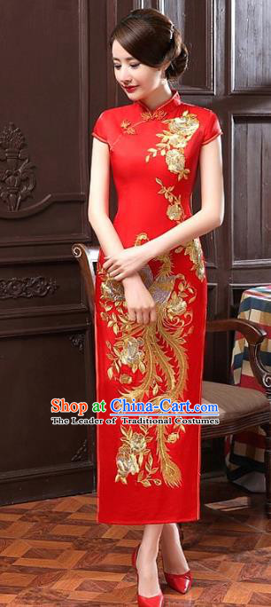 Chinese Traditional Costume Embroidered Phoenix Red Cheongsam China Tang Suit Silk Qipao Dress for Women