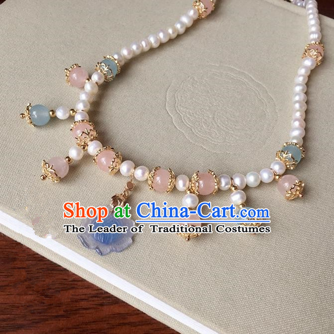 Traditional Handmade Chinese Ancient Classical Accessories Blue Lotus Necklace Pearls Necklet for Women