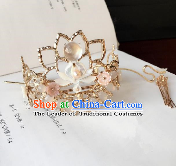 Traditional Handmade Chinese Ancient Classical Hair Accessories Hairdo Crown Hair Sticks Tassel Hairpins for Women