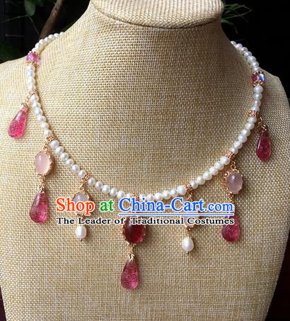 Traditional Handmade Chinese Ancient Classical Accessories Crystal Necklace Pearls Hanfu Necklet for Women