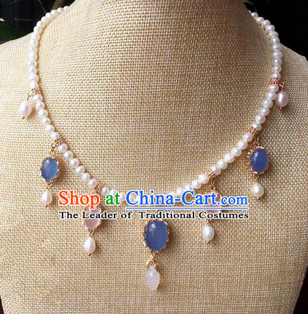 Traditional Handmade Chinese Ancient Classical Accessories Blue Crystal Necklace Pearls Hanfu Necklet for Women