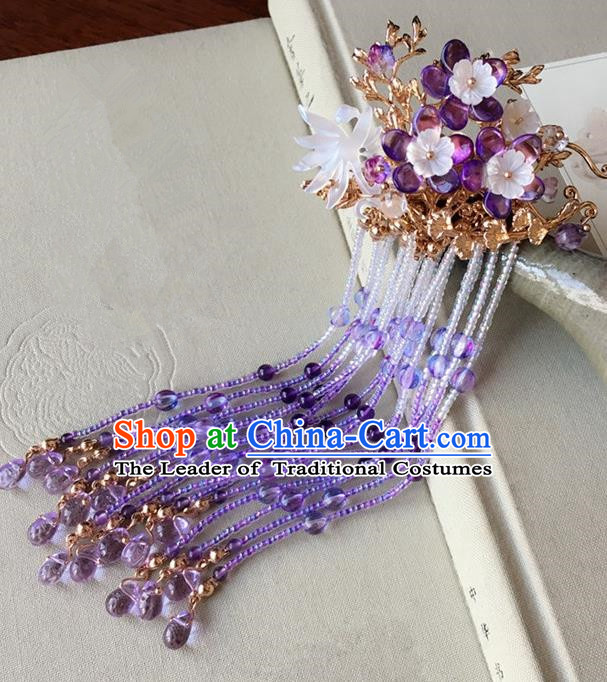 Traditional Handmade Chinese Ancient Classical Hair Accessories Purple Beads Tassel Hair Stick Hairpins for Women