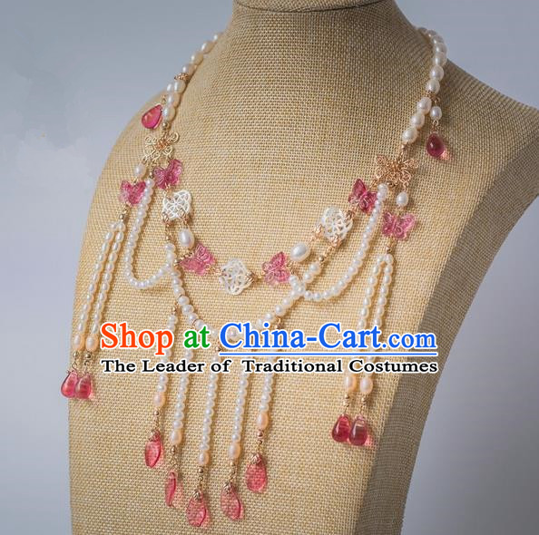 Traditional Handmade Chinese Ancient Classical Accessories Hanfu Pink Butterfly Tassel Necklace for Women