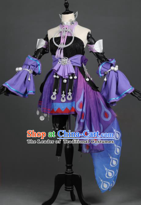 Chinese Ancient Swordswoman Costume Cosplay Female Knight-errant Purple Dress Hanfu Clothing for Women