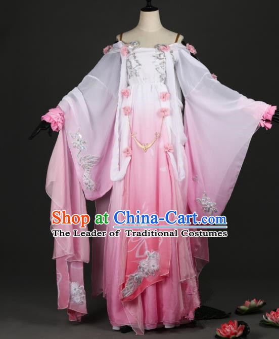 Chinese Ancient Heroine Costume Cosplay Princess Swordswoman Pink Dress Hanfu Clothing for Women