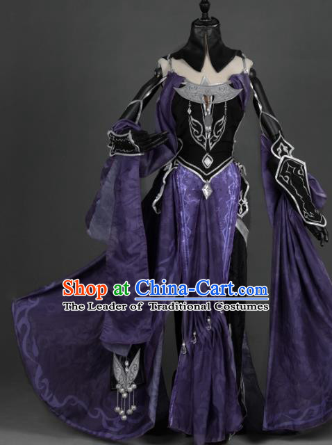 Chinese Ancient Tang Dynasty Young Lady Costume Cosplay Female Knight-errant Purple Dress Hanfu Clothing for Women