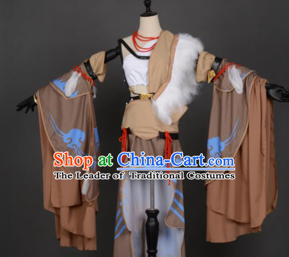 Chinese Ancient Beggars Sect Female Knight-errant Heroine Costume Cosplay Swordswoman Dress Hanfu Clothing for Women