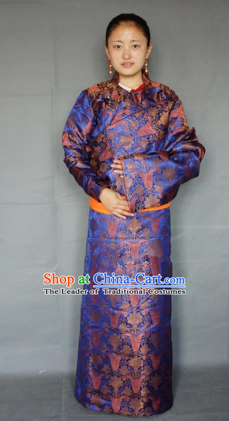 Chinese Zang Nationality Deep Blue Tibetan Robe, China Traditional Tibetan Ethnic Heishui Dance Costume for Women