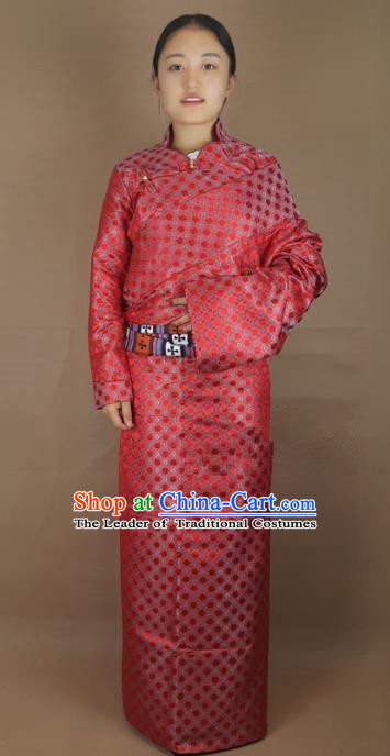 Chinese Zang Nationality Folk Dance Red Brocade Tibetan Robe, China Traditional Tibetan Ethnic Costume for Women
