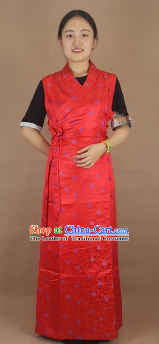 Chinese Zang Nationality Folk Dance Red Brocade Dress, China Traditional Tibetan Ethnic Costume for Women