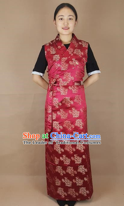 Chinese Zang Nationality Folk Dance Purplish Red Dress, China Traditional Tibetan Ethnic Costume for Women