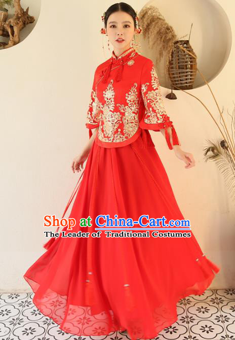 Chinese Traditional Wedding Red Costume Ancient Bride Embroidered Xiuhe Suit Full Dress for Women