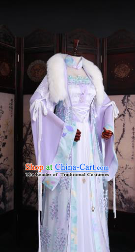 Chinese Ancient Princess Lilac Hanfu Dress Han Dynasty Palace Lady Embroidered Costume for Women
