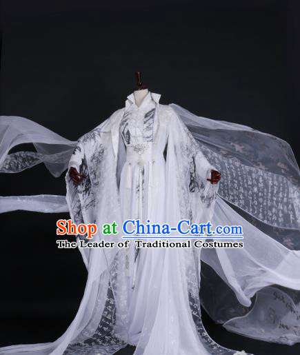 Chinese Ancient Palace Princess White Hanfu Dress Han Dynasty Imperial Empress Embroidered Costume for Women