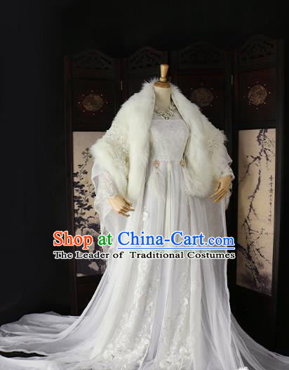 Chinese Ancient Imperial Concubine White Hanfu Dress Tang Dynasty Imperial Consort Embroidered Costume for Women