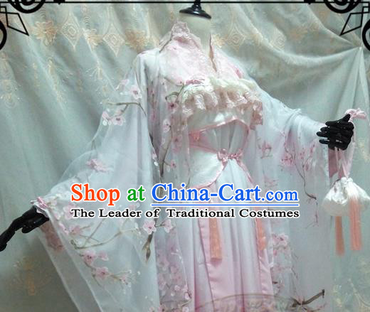 Chinese Ancient Cosplay Palace Lady Pink Hanfu Dress Tang Dynasty Princess Embroidered Costume for Women