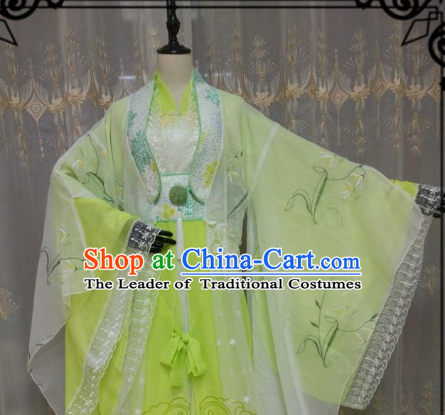 Chinese Ancient Fairy Costume Cosplay Swordswoman Clothing Tang Dynasty Nobility Lady Green Hanfu Dress for Women